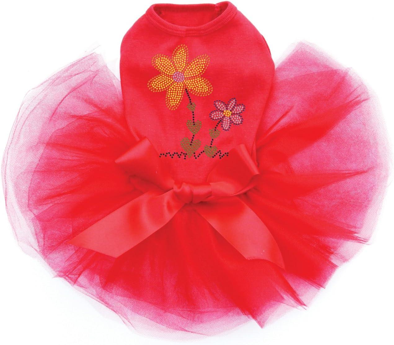 Orange Purple Flowers - Bling Award-winning store Limited price Rhinestone Re Dog XL Tutu Dress