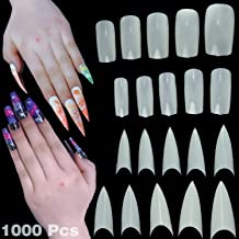 79STYLE 1000 Pcs Fake Nails Tips White Squoval Squarely Oval Rounded Full Cover and pointy tips Stiletto Long Claw Nails half cover Acrylic False Nails (10 Sizes)