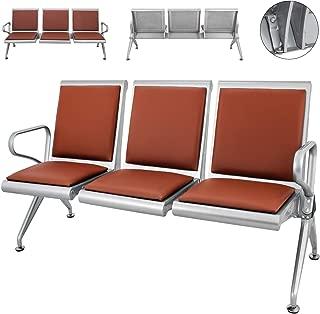 Cueffer 3 Sillas de Sala de Espera Bancada para Sala de Espera de Cuero PU Banco de Espera para Oficina, Playa, Barbería, Salón, Aeropuerto, Hospital, Mercado Waiting Room Chairs (marrón)