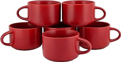 10 Strawberry Street WM-28-RED-6 Wazee Matte Oversized Mugs, RED