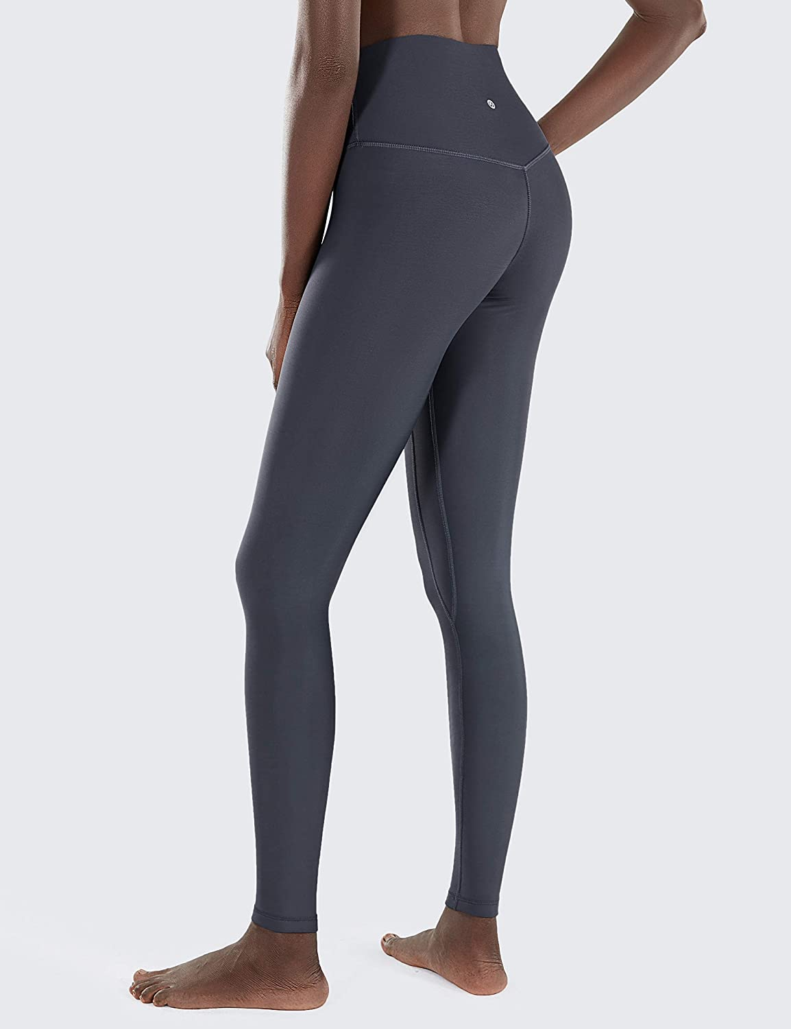 CRZ YOGA Womens Winter Thick Legging Mid-Rise Elastic Sports Warm Pants with Zip Pocket-28 Inches