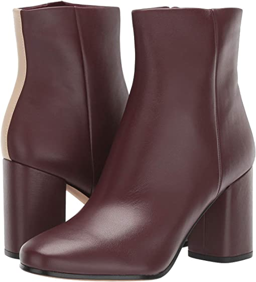 Burgundy/Linen Leather