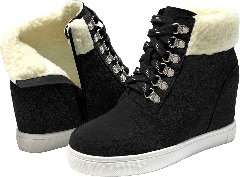 Fur Lined Sneakers for Women Hidden Wedge Boots Fur Lined Warm Booties Womens Winter Boots Snow Hidden Wedge Sneakers