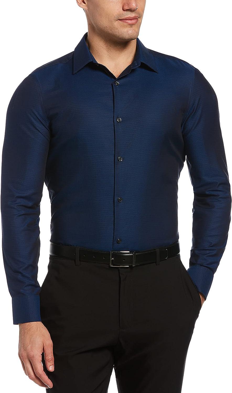 Perry Ellis Men's Slim Fit Resist Spill Dobby Long Sleeve Button-Down Shirt