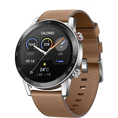 HONOR Smartwatch Magic Watch 2 Orologio Fitness Tracker Uomo Donna Smart Watch, 5 ATM Smart Watch Cardiofrequenzimetro da Polso Pressione Smartband, GPS, 46 mm, Chiamata Tramite Bluetooth, Marrone