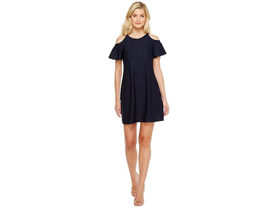 Christin Michaels Phoebe Cold Shoulder Dress (Navy) Women