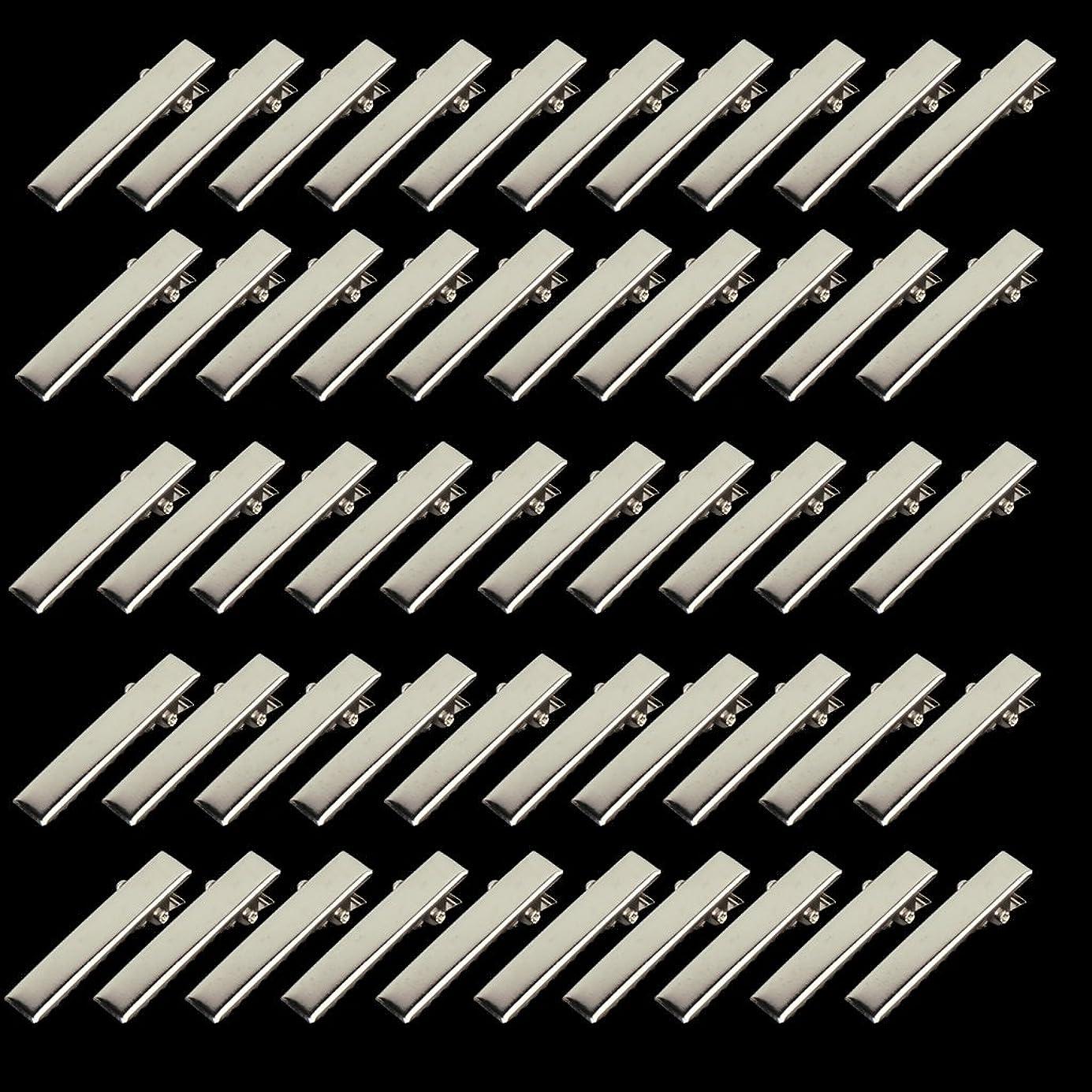 ユーザー使い込む地震Prettyia 約50個 32mm ミニ ヘアピン 金具 小型 プロング ワニ 手芸用 材料  ヘアクリップ  DIY  シルバー