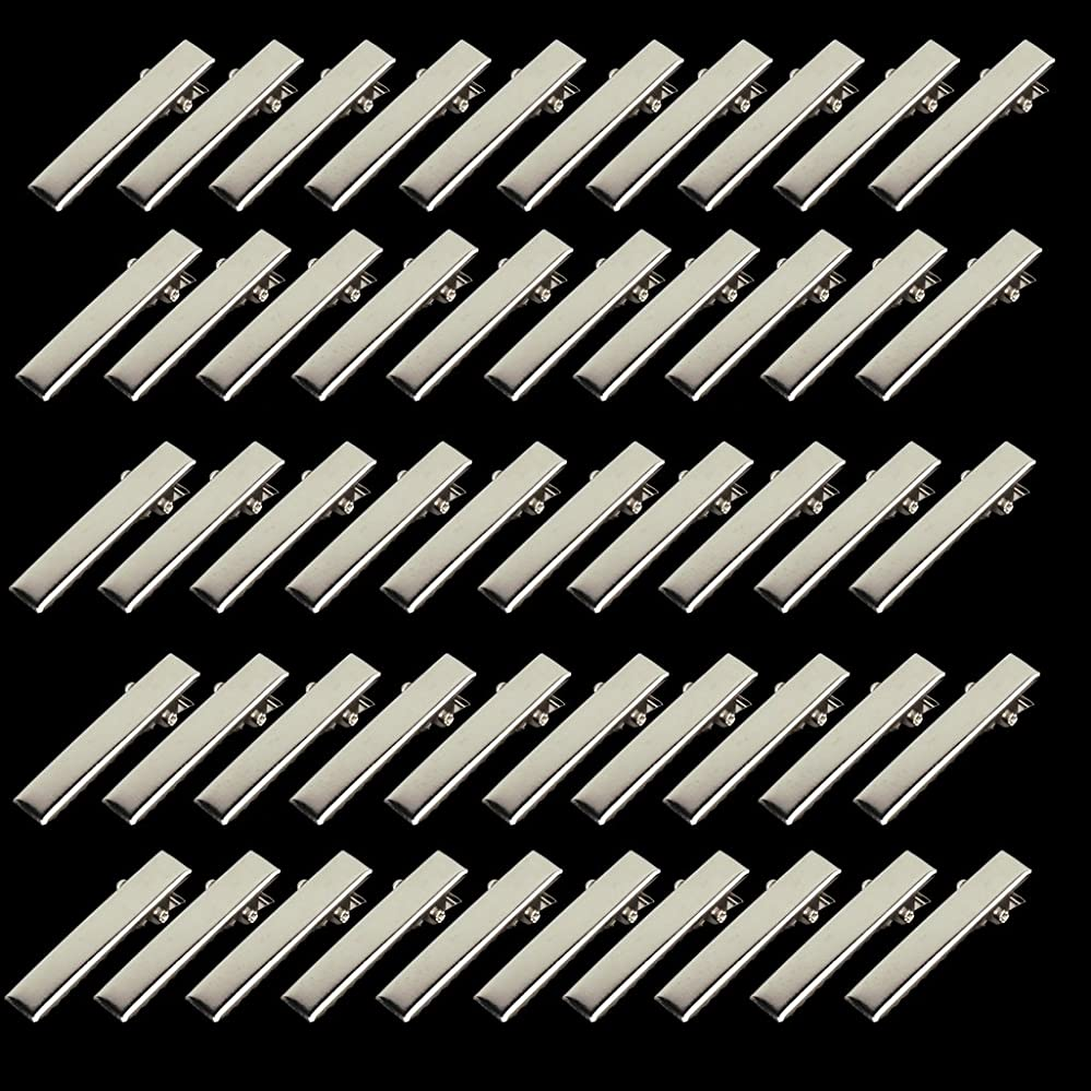 愛情深いコークス北東Prettyia 約50個 32mm ミニ ヘアピン 金具 小型 プロング ワニ 手芸用 材料  ヘアクリップ  DIY  シルバー