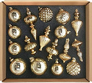 glasburg Size M Gold Christmas Glass Ornament Tree Decoration (17 Ornaments)