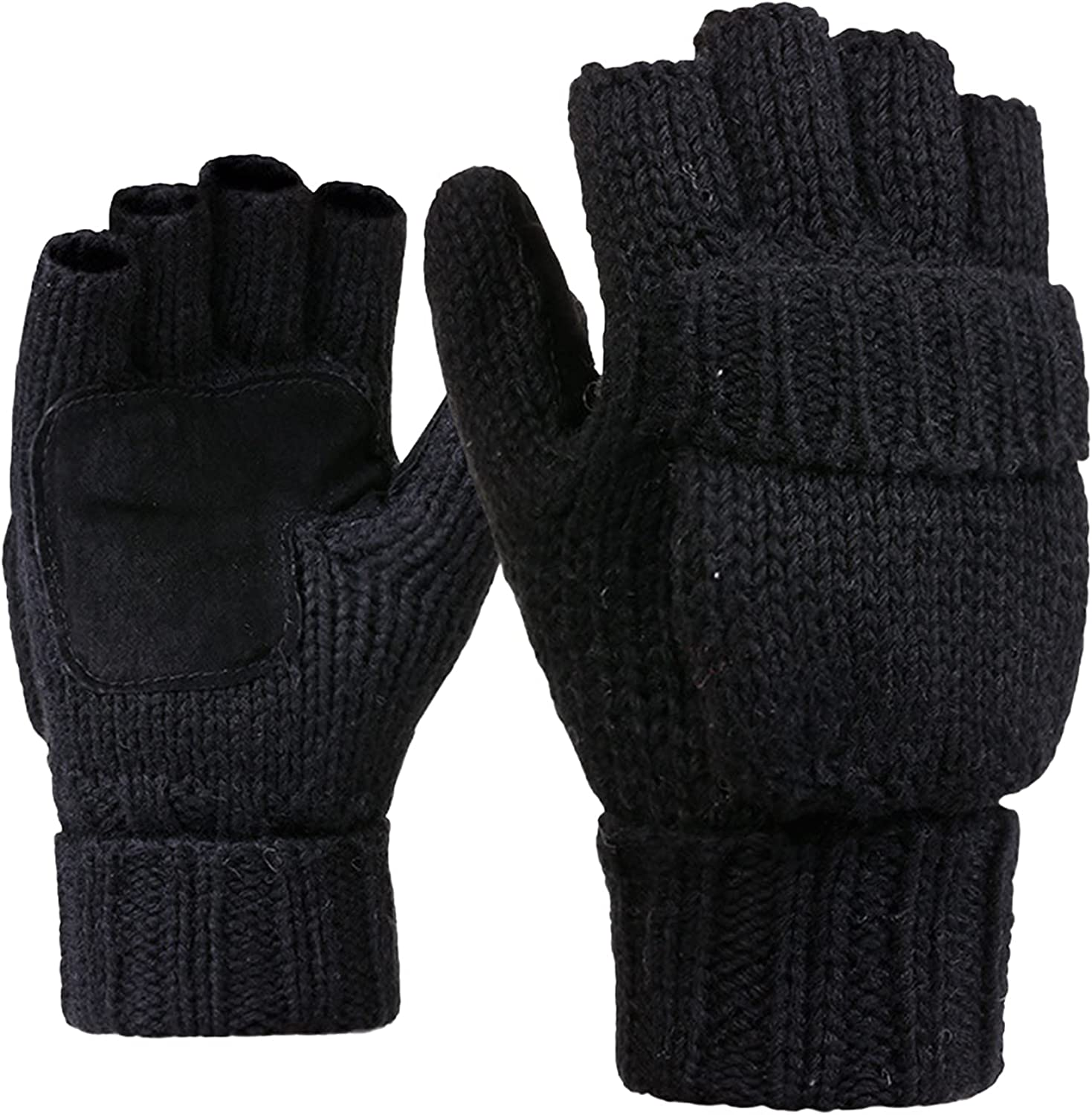 Petyoung Winter Knitted Fingerless Gloves, Wool Mittens with Thick Fleece Warm Glove for Women and Men