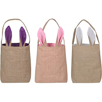 KEFAN 3 Pack Easter Bunny Bags Easter Bunny Baskets Jute Burlap Bunny Ear Tote Bags