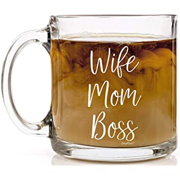 Shop4Ever Wife Mom Boss Glass Coffee Mug