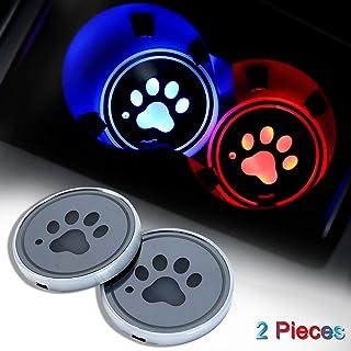 DIYcarhome 2 Stück LED Becherhalter Lichter, Hundepfote Autountersetzer mit 7 Farbwechsel USB Ladematte, leuchtende Becherhalter, Innenraum Lampe, Dekoration