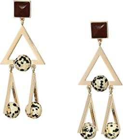 Studded Stone Geo Statement Earrings