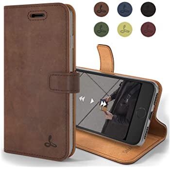 Snakehive Vintage Wallet for Apple iPhone 8 / iPhone SE (2020) || Real Leather Wallet Phone Case || Genuine Leather with Viewing Stand & 3 Card Holder || Flip Folio Cover with Card Slot (Brown)