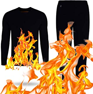 Electric Heating Thermal Underwear Set Black for Women And Men, USB Heated Long Sleeve Top & Bottom Long Johns Pants Winte...