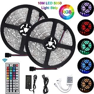 Tiras LED 10m 5050 RGB, Akapola Tiras de Luces LED Iluminación con 300 LEDS 12V SMD, Impermeable IP65, Multicolor con Adaptador de Alimentación 3A, Control Remoto de 24 Claves, Receptor, Kit Completo