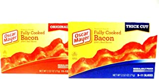 Oscar Mayer, Fully Cooked Bacon VARIETY 6 PACK, 3 Boxes of THICK CUT, 3 Boxes of ORIGINAL, 2.52oz Boxes (Pack of 6)