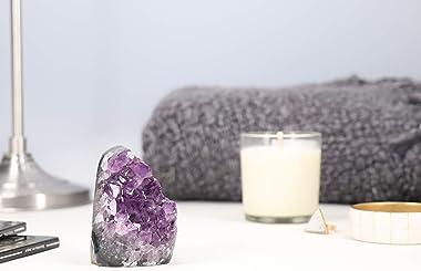 Deep Purple Project Amethyst Crystal Geode Spiritual Healing Rocks Cluster Quartz Stone (250 Grams or Less, Amethyst Purple)