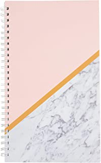Salon Appointment Book - 4-Column Schedule Book, Undated Appointment Planner for Hairdresser, Stylist, Nail Salon, Massage Spa, Pink with Marble Print Cover, Spiral Bound, 200 Pages, 13.5 x 8 Inches