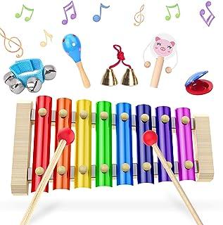 comprar comparacion Xilofono, Xilofono Infantil, XilofonoBebe Glockenspiel, Percussion Drums 6 Pieces Set, 23.5 x 12 x 2.5 cm, Juguetes De Ma...