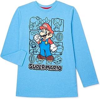 Nintendo Boys Super Mario Kart Long Sleeve Graphic Tee Shirt Top (10/12, Blue)