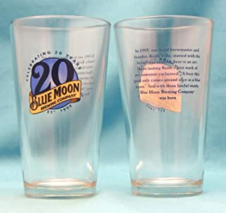 Blue Moon Beer Celebrating 20 Years 6in Pint Glass Set Of 2