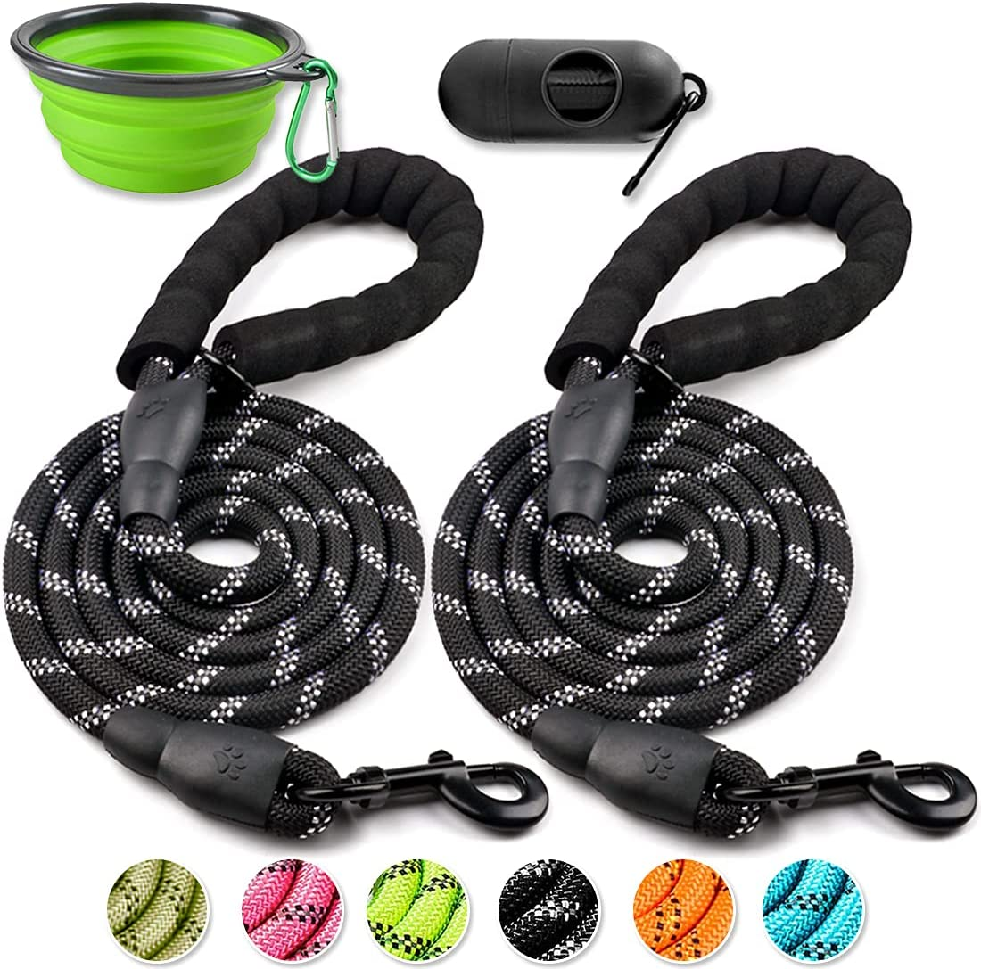 COOYOO 2 Pack Dog Leash 5 FT Heavy Duty - Comfortable Padded Handle - Reflective Dog Leash for Medium Large Dogs with Collapsible Pet Bowl : Pet Supplies