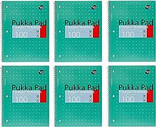 Pukka Pad Single Subject Wirebound Notebook 6-Pack 50 Premium 80 GSM Ruled Sheets Green-Metallic