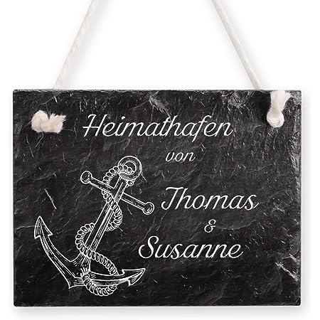 Hirsch und REH Casa Vivente Schiefertafel zum Aufh/ängen mit Personalisierter Namensgravur 25 x 10 cm T/ürschild mit Waldmotiv f/ür Paare