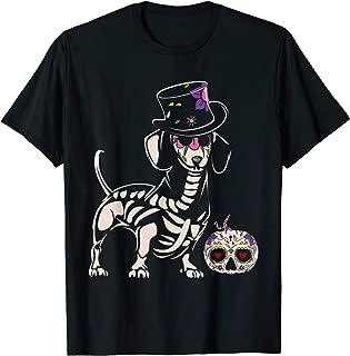 Skull Dachshund T-shirt Halloween Costume for Dog Lover Tee T-Shirt