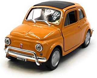 Onlineworld2013 Coche Modelo Nuova 500 1957-1975 Coche clásico Coche Naranja Escala 1: 34-39 con Licencia