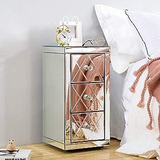 NZKW Table de Chevet en Verre Miroir Poignée en Cristal Commode à 3 tiroirs Meubles d'armoire dans Le Salon, la Chambre et...