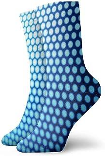 tyui7, Patrón Blanco Calcetines de compresión antideslizantes de puntos azules Calcetines deportivos acogedores de 30 cm para hombres, mujeres, niños