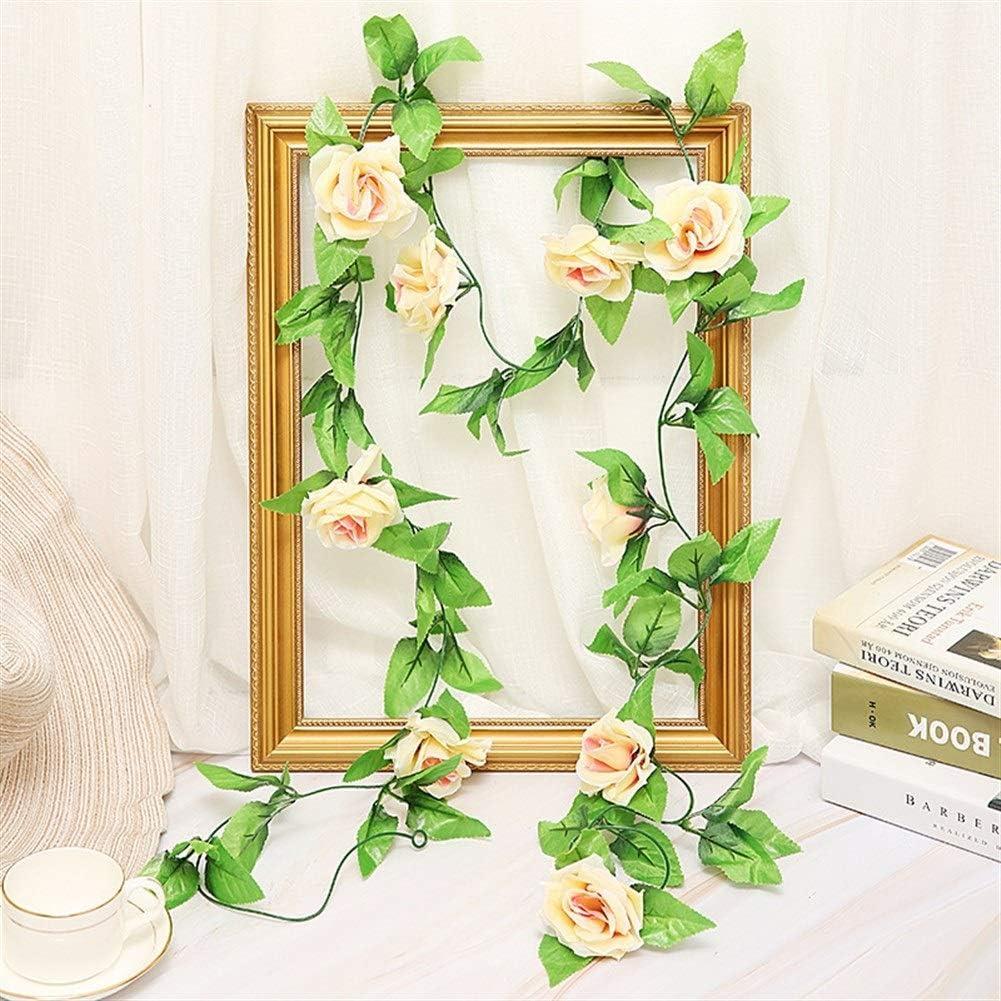 Jun7L Vintage Artificial Fake Silk Rose Flower Ivy Vine Leaf Garland Hanging Vine Wedding Home Wall Decoración Interior 4 PCS (Color : Champagne)