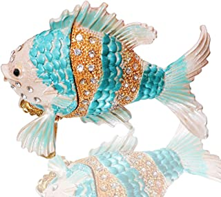 Waltz&F Tropical Fish Trinket Box Hinged Hand-Painted Animal Figurine Collectible Ring Holder
