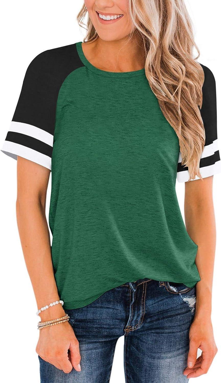 Cyanstyle Womens Raglan Short Sleeve Shirts Crew Neck Tees Color Block Baseball Tunic Tops Casual Sporty T-Shirt