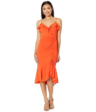 American Rose Maren Ruched Asymmetrical Midi Dress (Red) Women