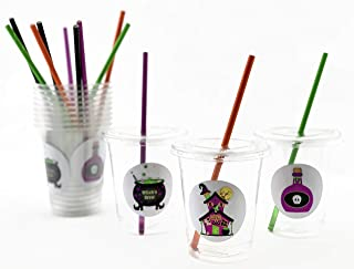Halloween Cups - Haunted House Party Supplies with Lids and Straws, Set of 12