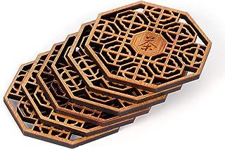 سجادة مائدة Qioniky من الخيزران حجم معقول وضع بشكل آمن أنيق فنجان فنجان ، غرفة المعيشة للمطبخ مطعم المنزل (قاعدة قافية الشاي)
