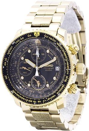 [セイコー]SEIKO 腕時計 QUTARZ CHRONOGRAGH クオーツ クロノグラフ SNA414P1 パイロット ブラック/ゴールド メンズ 逆輸入