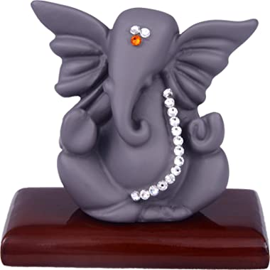 (Deoksions - Swarovski Studded Small Janiu Ganesha for Car Dashboard & Home Office Decor (Grey)