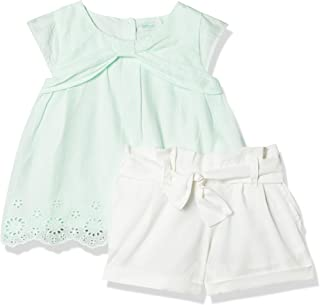 Conjunto Shorts e batinha, Tip Top, Meninas, Verde Agua, 2T