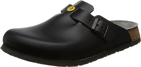 BIRKENSTOCK 61360-41-normales Fußbett Boston-Zapatillas antiestáticas (Piel Natural, Talla Plantilla Normal, Negro, Größe 41