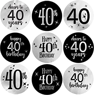 Black and Silver 40th Birthday Party Favor Labels - Shiny Foil - 180 Stickers