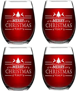Set of 4 Christmas Wine Glasses Merry Christmas Stemless Wine Glasses Christmas New Year Gifts for Friends Women Christmas Decoration Wine Glasses for Christmas Party Couple Party Use 15Oz