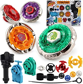 Uiiq Toys Battle Burst Set Spinning Top 4D Metal Fusion Gyros Toy with 4D Launcher Stater Grip and Stadium Battle Set - 17 Pcs