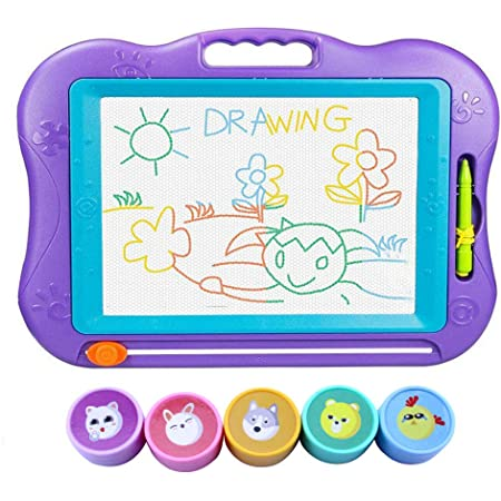 お絵かきボード WELCOOL お絵描き おもちゃ 44*33.5*3CM 大きいサイズ 4色 マグネットスタンプ付き 知育おもちゃ 誕生日プレゼント 6歳以上対象(パープル)