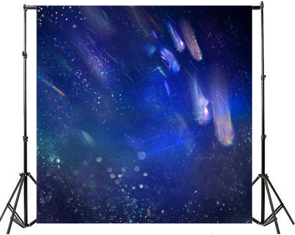 Leowefowa 10X10FT Vinyl Photography Backdrop Bokeh Halos Sparkle Sequins Shining Lights Abstract Blue Background Kids Children Adults Photo Studio Props