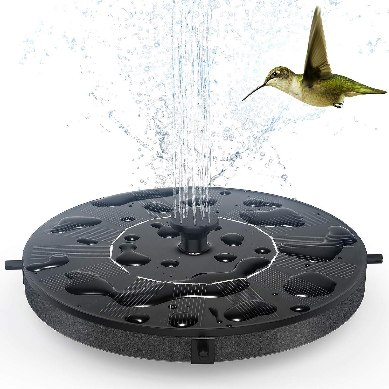 Bomba de Fuente Solar - THEGUS 1W Fuente de Jardín con 6 Boquillas, Independiente, Kit de Bomba Sumergible para Fuente Exterior, Bomba Flotante para Tanques de Pájaros, Estanque, Piscina, Jardín